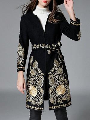Black Long Sleeve V-Neck Floral-embroidered Coat_1
