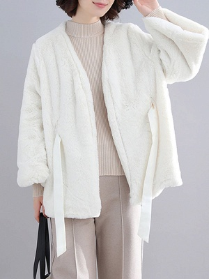 Casual Solid Crew Neck Fur And Shearling Coats_1