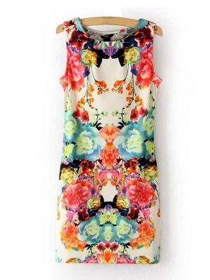Summer Sleeveless Cyclic Symmetry Printed Mixed Colors Vest Bodycon Dress_1