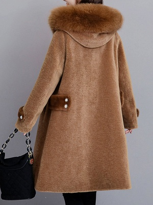Casual Solid Long Sleeve Fur And Shearling Coats_9