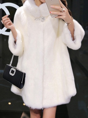 Long Sleeve Casual Fluffy Fur And Shearling Coats_1