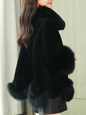 Paneled Shawl Collar Long Sleeve Fur And Shearling Coats_14