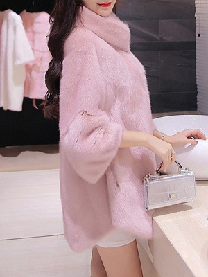 Long Sleeve Solid Shift Fluffy Fur and Shearling Coat_7