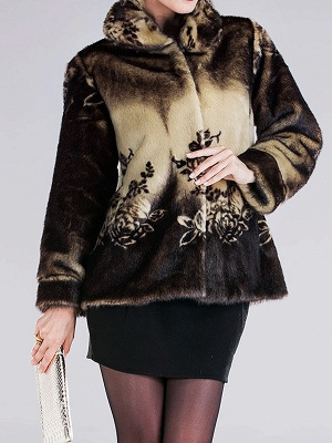 Floral-print Ombre/Tie-Dye Fur and Shearling Coat_6
