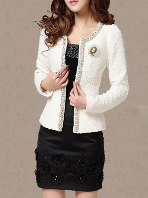 Beaded Solid Work Swiss-dot Coat with Brooch_1