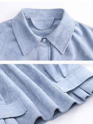 Blue Shirt Collar Long Sleeve Solid Coat_5