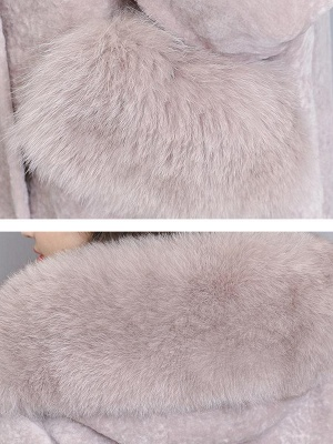 Casual Buttoned Long Sleeve Hoodie Fur and Shearling Coat_9