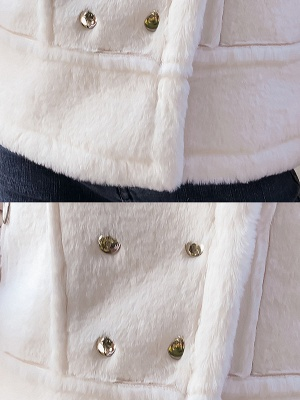 Buttoned Solid Shawl Collar Fur And Shearling Coats_8