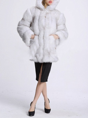 Fluffy Hoodie Casual Artificial LeatherAnd Shearling Coat_7