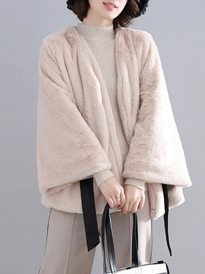 Casual Solid Crew Neck Fur And Shearling Coats_2