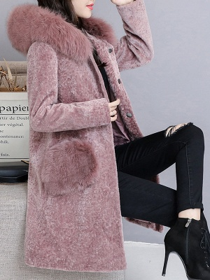 Casual Buttoned Long Sleeve Hoodie Fur and Shearling Coat_10