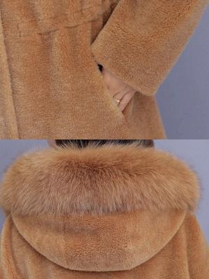 Hoodie Shift Pockets Long Sleeve Fur And Shearling Coats_10
