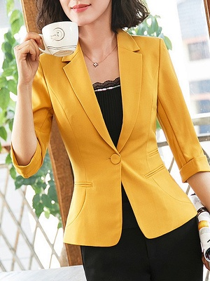 3/4 Sleeve Casual V neck Polyester Pockets Coat_2