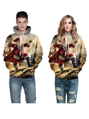 Ugly Christmas Plus Size Couple Hoodies Santa Claus Pirate Fashion Printed Hooded Clothes for Men/Women_4