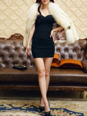 White Casual Shift Fluffy  Buttoned Fur and Shearling Coat_5