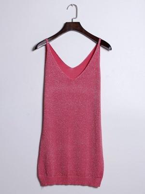 Sleeveless Deep V-neck Silver Wire Knit Harness Vest Tank Top_11