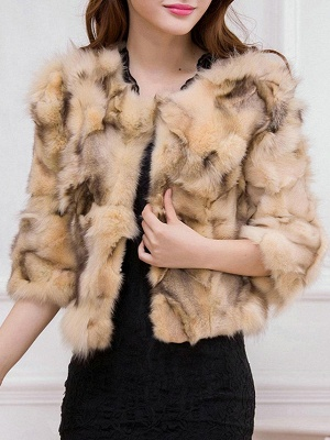 Shift 3/4 Sleeve Casual Fluffy Fur and Shearling Coat_2