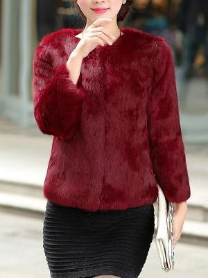 Casual Shift Long Sleeve Fur And Shearling Coats_3