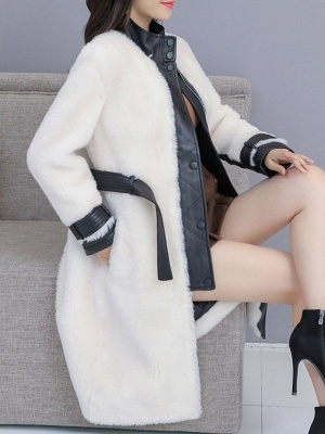 Pockets Long Sleeve Fur And Shearling Coats_11