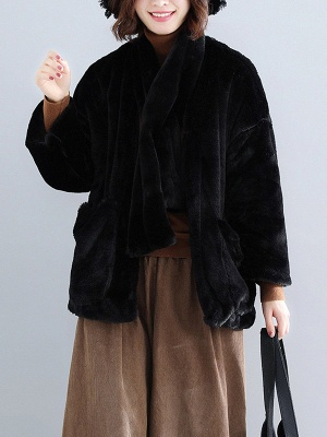 Solid Long Sleeve Pockets Fluffy Fur And Shearling Coats_5