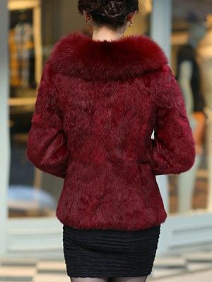 Fluffy Long Sleeve Shawl Collar Fur and Shearling Coat_5