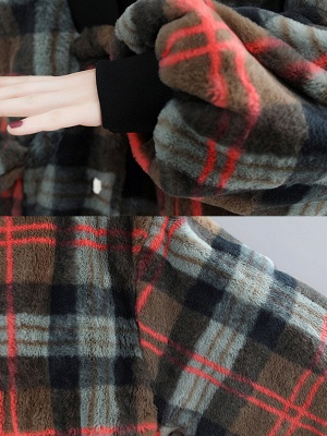 Long Sleeve Checkered/plaid Fur And Shearling Coats_8