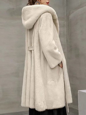 Solid Shift Long Sleeve Bow Casual Fur and Shearling Coat_5
