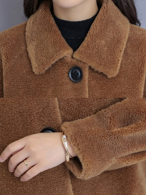 Casual Buttoned Pockets Fur And Shearling Coats_11