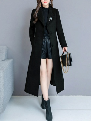 Long Sleeve Casual Shawl Collar Solid Coat_2