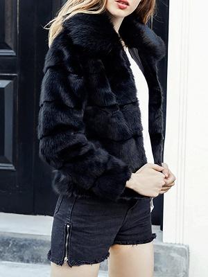 Black Long Sleeve Shift Shawl Collar Casual Color-block Fur and Shearling Coat_4