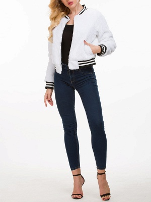 White Buttoned Casual Fur and Shearling Coat_4