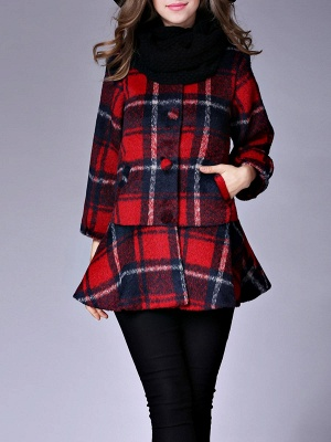 Checkered/Plaid Raglan Sleeve Casual Color-block Coat_1