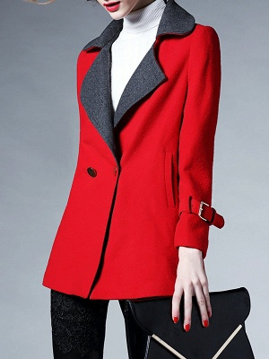 Red Pockets Shift Solid Long Sleeve Coat_4