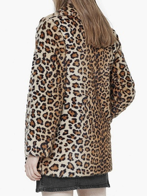 Brown Leopard Print Long Sleeve Fur And Shearling Coats_3