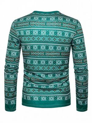 Mens Santa Claus 3D Printed V-neck Long Sleeves Green Ugly Christmas Cotton T-shirts_4
