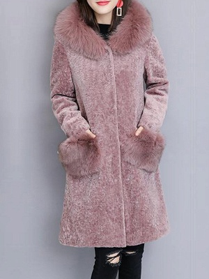 Casual Buttoned Long Sleeve Hoodie Fur and Shearling Coat_2