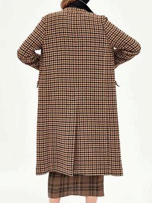 Casual Gingham Buttoned Pockets Shift Lapel Slit Coat_3