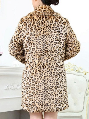 Casual Leopard Print Long Sleeve Artificial Leather And Shearling Coat_3