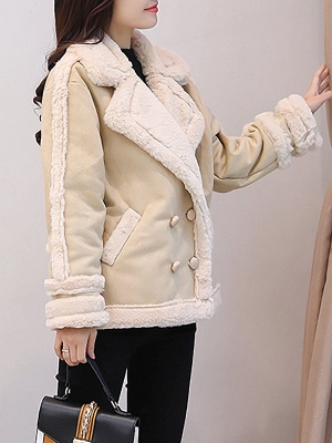 Lapel Buttoned Solid Pockets Fur And Shearling Coats_9