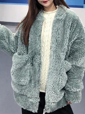 Long Sleeve Pockets Casual Fur And Shearling Coats_7