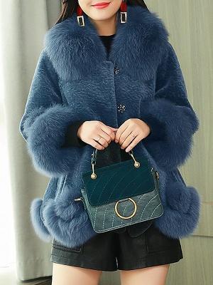 Paneled Shawl Collar Long Sleeve Fur And Shearling Coats_3