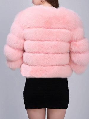 Shift 3/4 Sleeve Fluffy  Fur and Shearling Coat_8