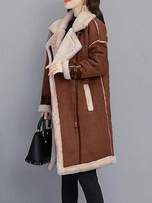 Casual Long Sleeve Fur And Shearling Coats_4