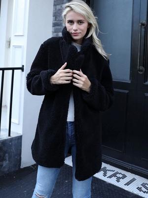 Long Sleeve Shirt Collar Solid Shift Fur And Shearling Coats_3