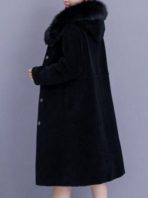 Hoodie Shift Pockets Long Sleeve Fur And Shearling Coats_8