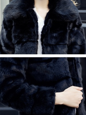 Black Long Sleeve Shift Shawl Collar Casual Color-block Fur and Shearling Coat_5