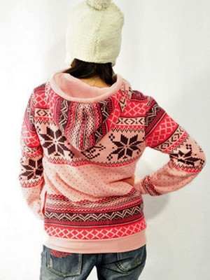 Ethnic Style Snowflakes Printed Thick Fleece Hoodies Casual Hooded Christmas Clothing for Women_7