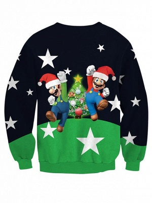 Navy and Green Star Santa Claus Christmas Tree Printed Long Sleeves Sweatshirts for Women_3