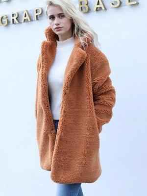 Long Sleeve Shirt Collar Solid Shift Fur And Shearling Coats_7
