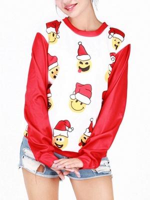 Men/Women Red Cute Cartoon Santa Claus Printed Cotton Thin Funny Christmas T-shirts_5